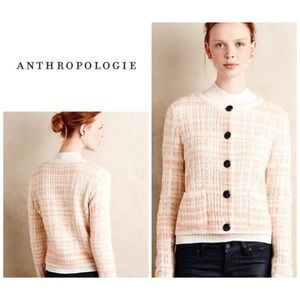 Anthro Knitted & Knotted Boucle Plaid Cardigan